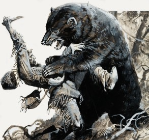 Hugh Glass being savaged by a bear
